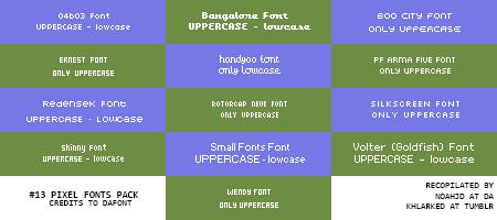 Pixel Fonts pack by ephyreia