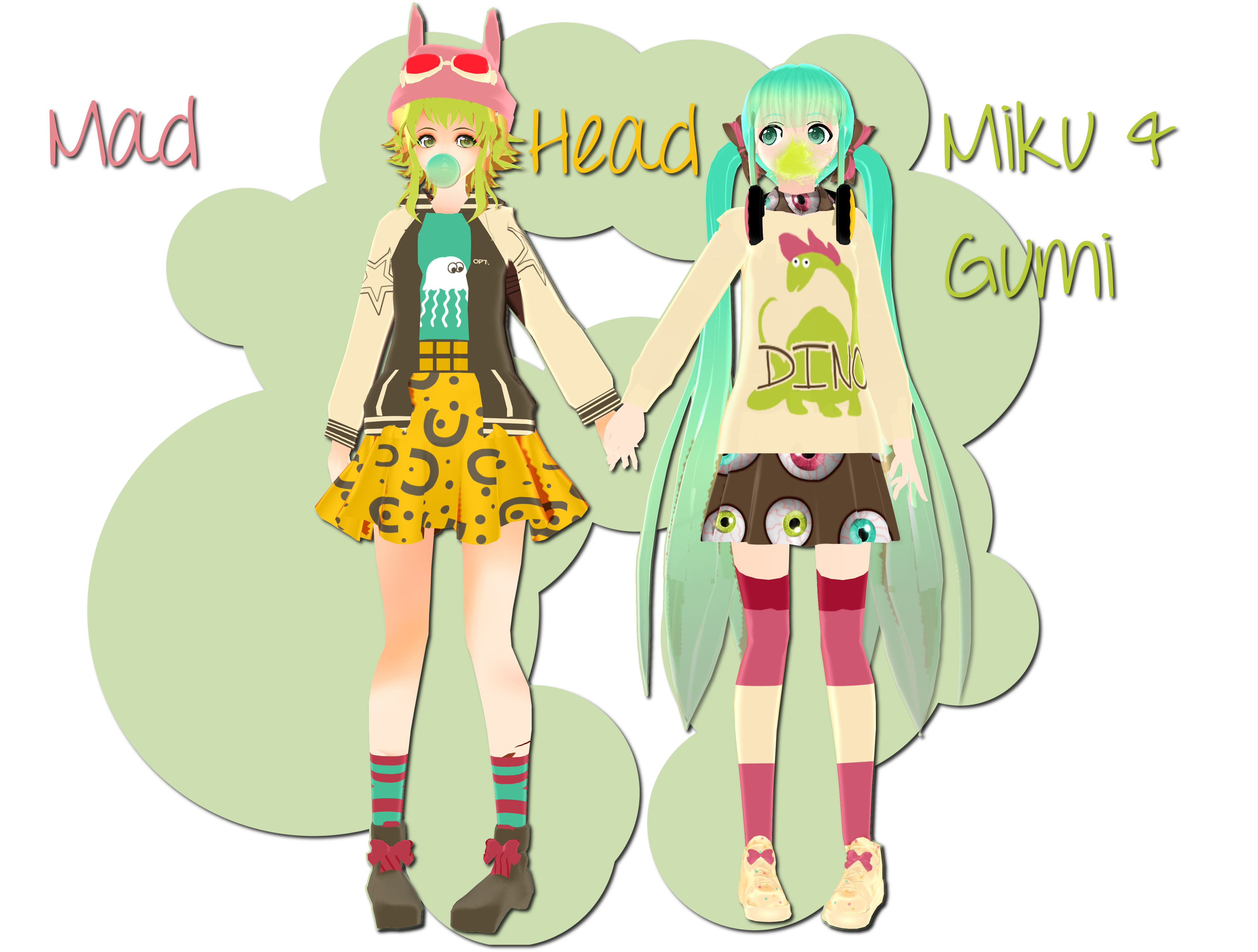 .:200+ Watcher's Gift:. Mad Head Gumi and Miku by xkyarii