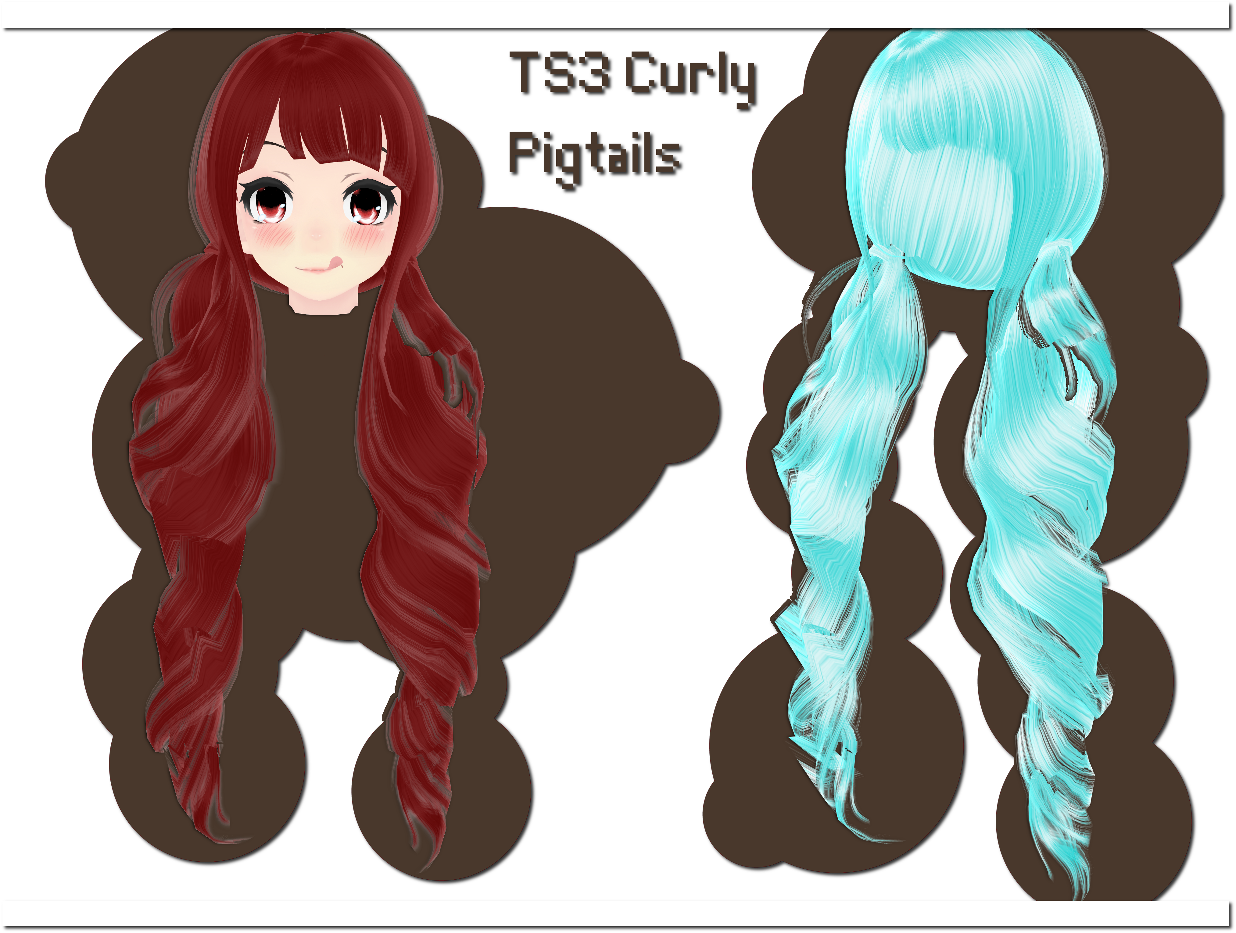 TS3 Curly Pigtails DOWNLOAD by xkyarii