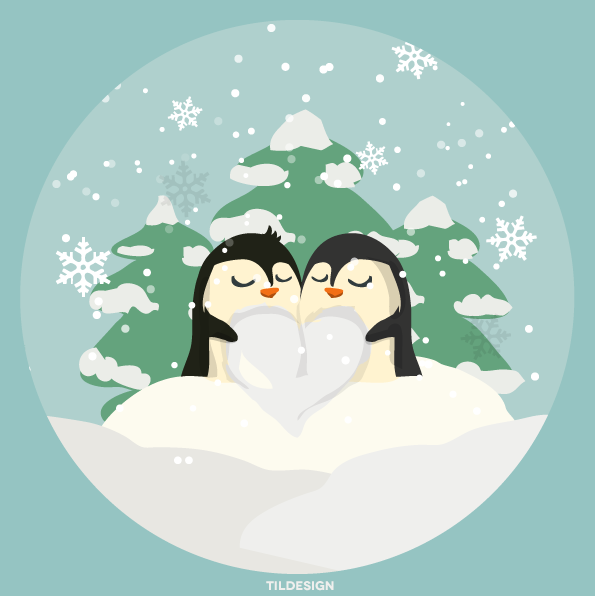 Free png Christmas pinguins in love by Matylly