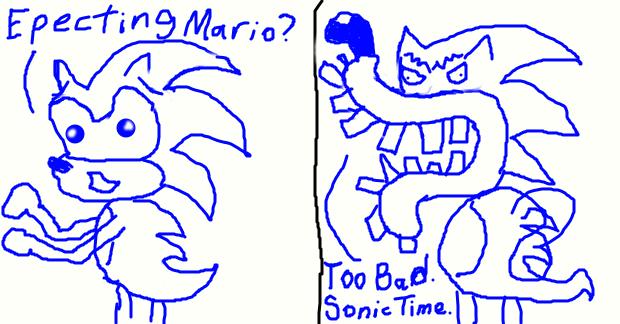 Sonic the Hedgehog makes fun of Waluigi by BenorianHardback26