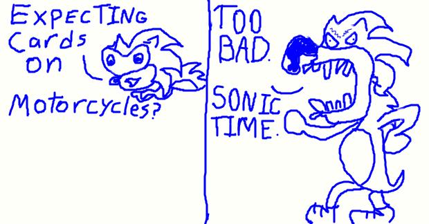 Sonic present: Cards on Motorcycles!!! by BenorianHardback26