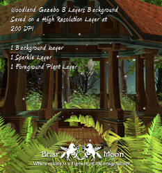 Woodland Gazebo Layered Bckgrd by briarmoon-stock