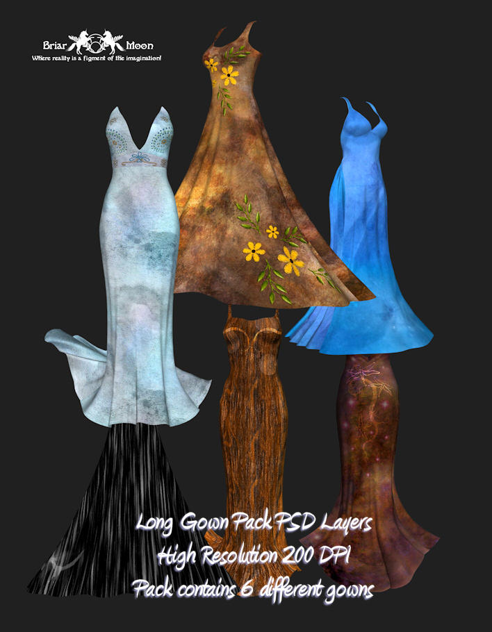 Long Gown PSD  Pack of Six