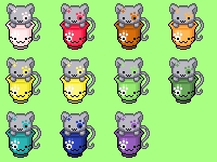 Gray Cats in Cup - Icon Set by Narmita08