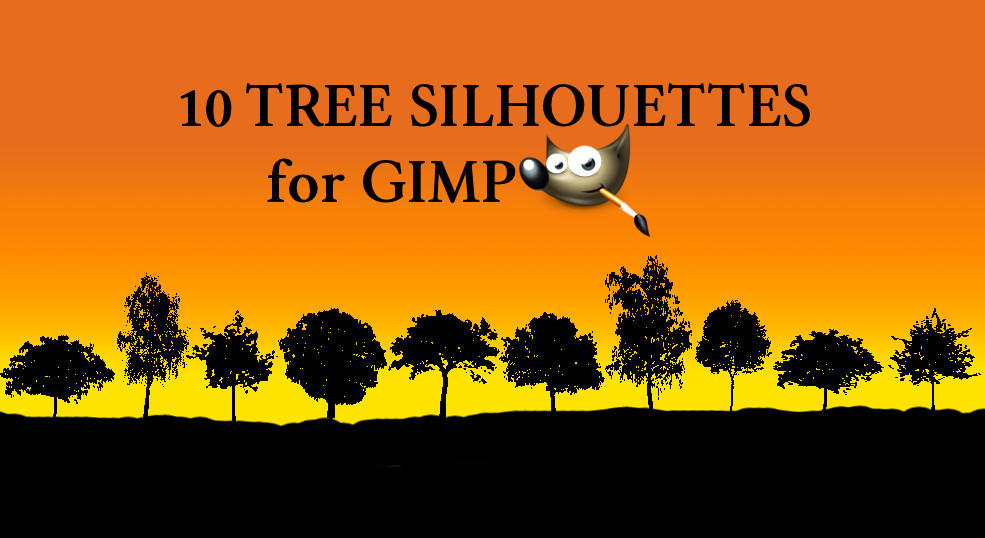 10 tree silhouette brushes by Chrisdesign
