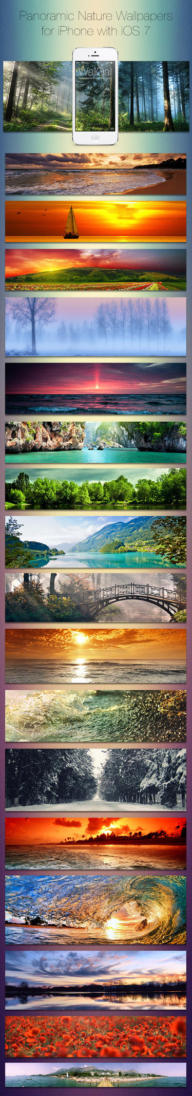 iOS 7 Panoramic wallpaper pack for iPhone, Nature by coLdik