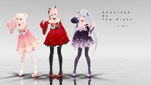MMD TDA Miku, Rin Hanbok Dress DL -edited-