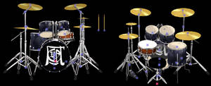 MMD Drum Set Model with bones + Chair and Stick