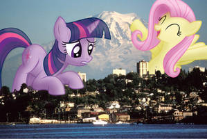 Giant Twilight and Fluttershy in Tacoma, WA (Vs.2)