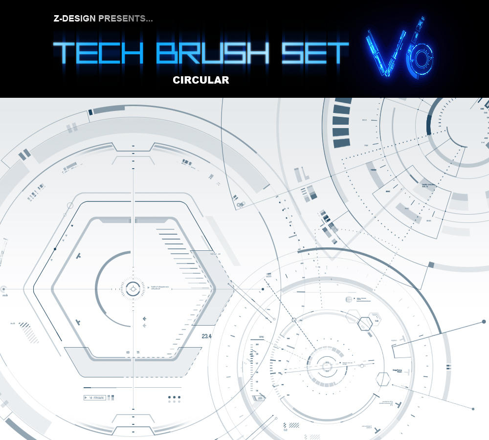 Z-DESIGN Tech Brush Set v6 by z-design