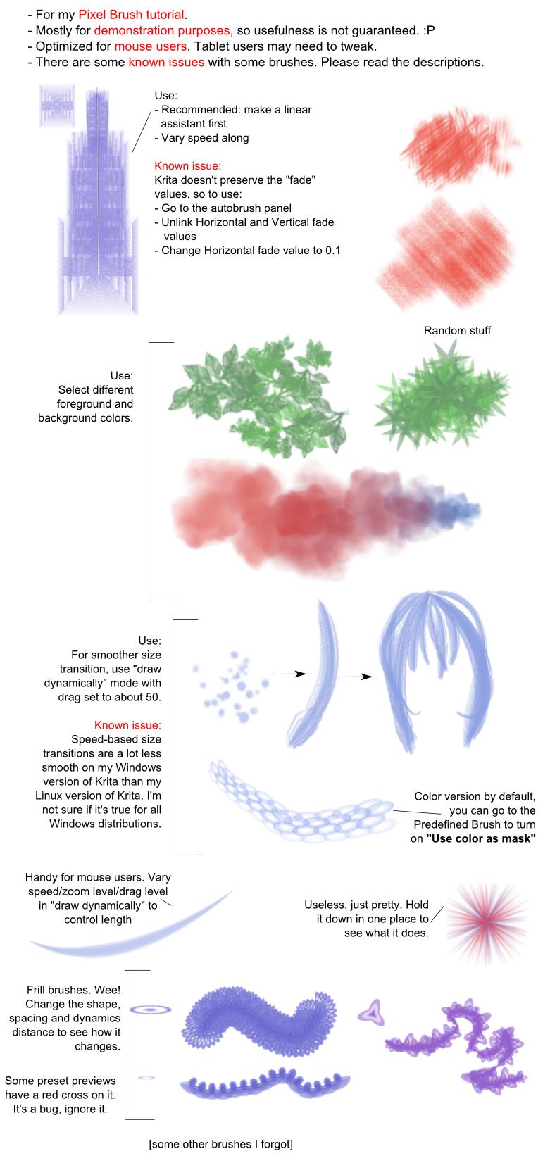 Examples for the Krita pixel brush tutorial by White-Heron