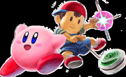 Kirby and Ness SSBU artwork by KDsketch2004