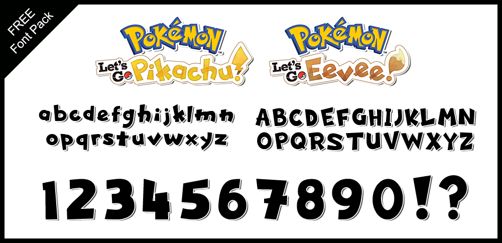 Font Pack: Let's Go Pikachu and Eevee by Mucrush on DeviantArt