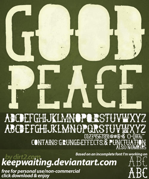 GoodPeace Free Font by KeepWaiting