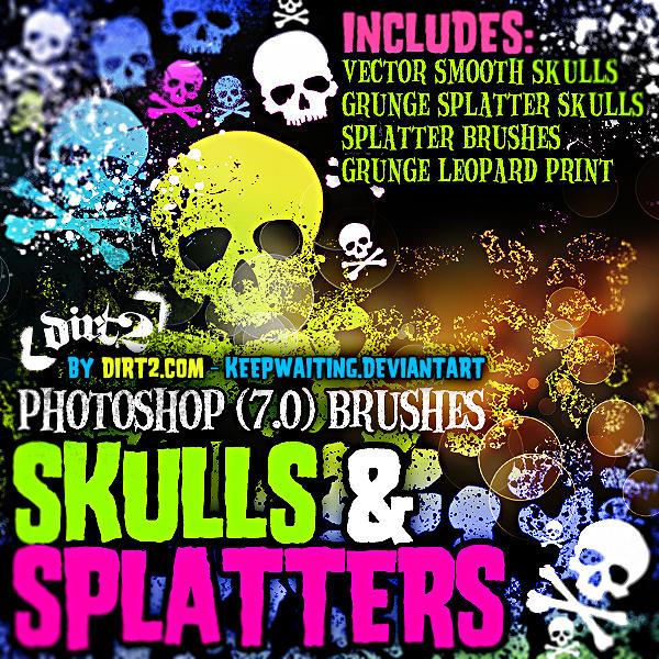Grunge Skull-Splatter Brushes by KeepWaiting