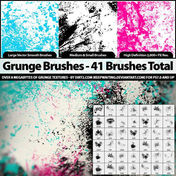 41 Grunge Brushes - PS7