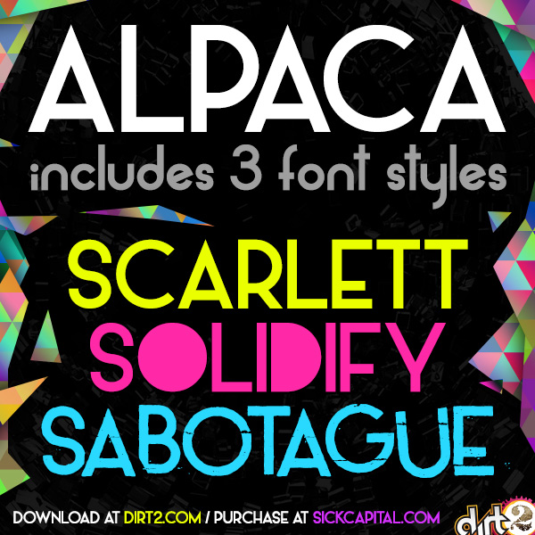 Alpaca Scarlett (free font with 3 styles) by Dirt2
