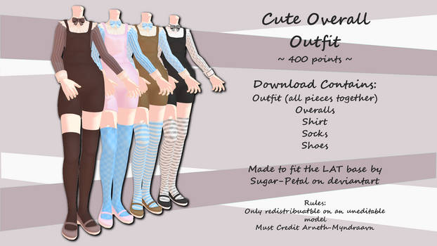 MMD Cute Overall Outfit ~400 points~ P2U