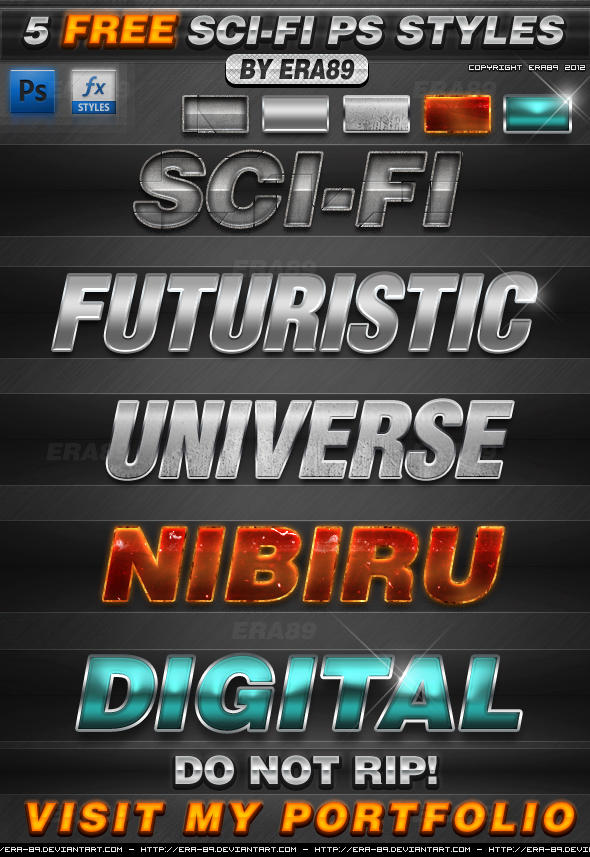 FREE 5 Sci-Fi Photoshop Styles - Text Effects by KoolGfx