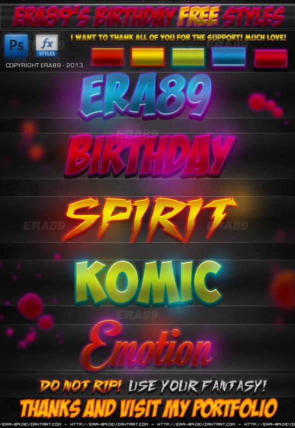 Era89's Birthday FREE Photoshop Styles