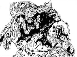 Cyberdemon- Battle Stance by The-Silver-Spartan