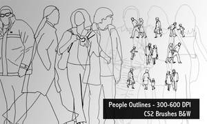 People outlines brush- 600 DPI by screentones