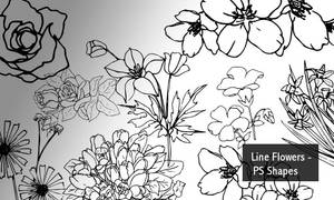 Line Flowers - PS Shapes