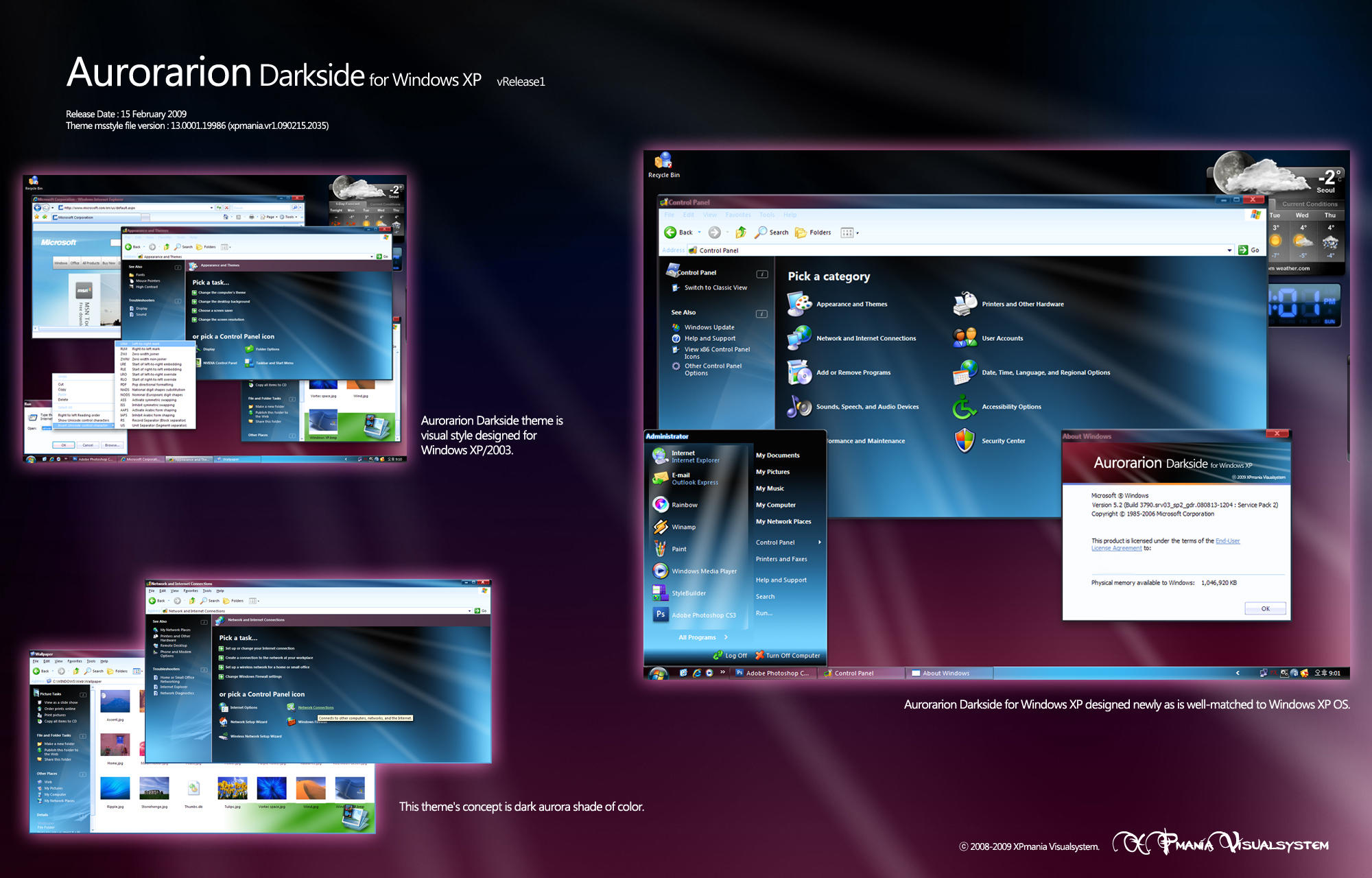 "Aurorarion Darkside XP vR1.11 "" Đổi Giao Diện WIn Xp"" Aurorarion_Darkside_XP_vR1_11_by_XPmania"