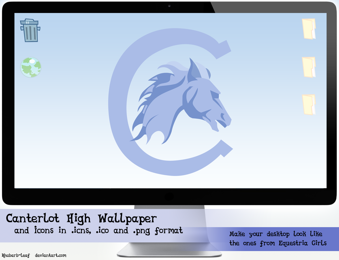 Equestria Girls Desktop Theme Wallpaper Plus Icons by rhubarb-leaf