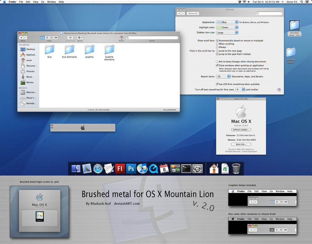 Brushed Tiger theme for Mountain lion v2.0 by rhubarb-leaf