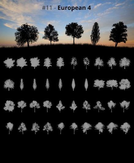 Tree Silhouettes vol.11 - European 4 by Horhew