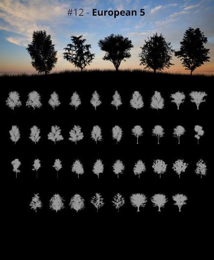 Tree Silhouettes vol.12 - European 5 by Horhew