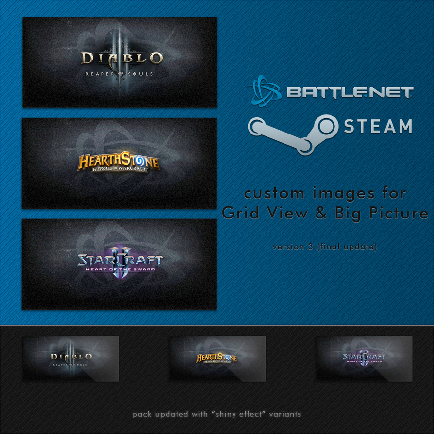 Steam images for Blizzard Games (D3/SC2/HS) V3 by DarthWound