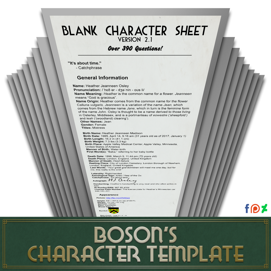 Character information sheet - Blank Character Sheet 2 1 8 390 Questions By Theboson On Deviantart