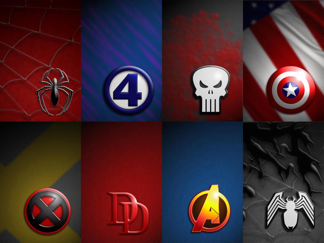 Amazing Wallpaper Marvel Deviantart - marvel_logos_wallpaper_pack_by_badlydrawnduck  2018_406471.jpg