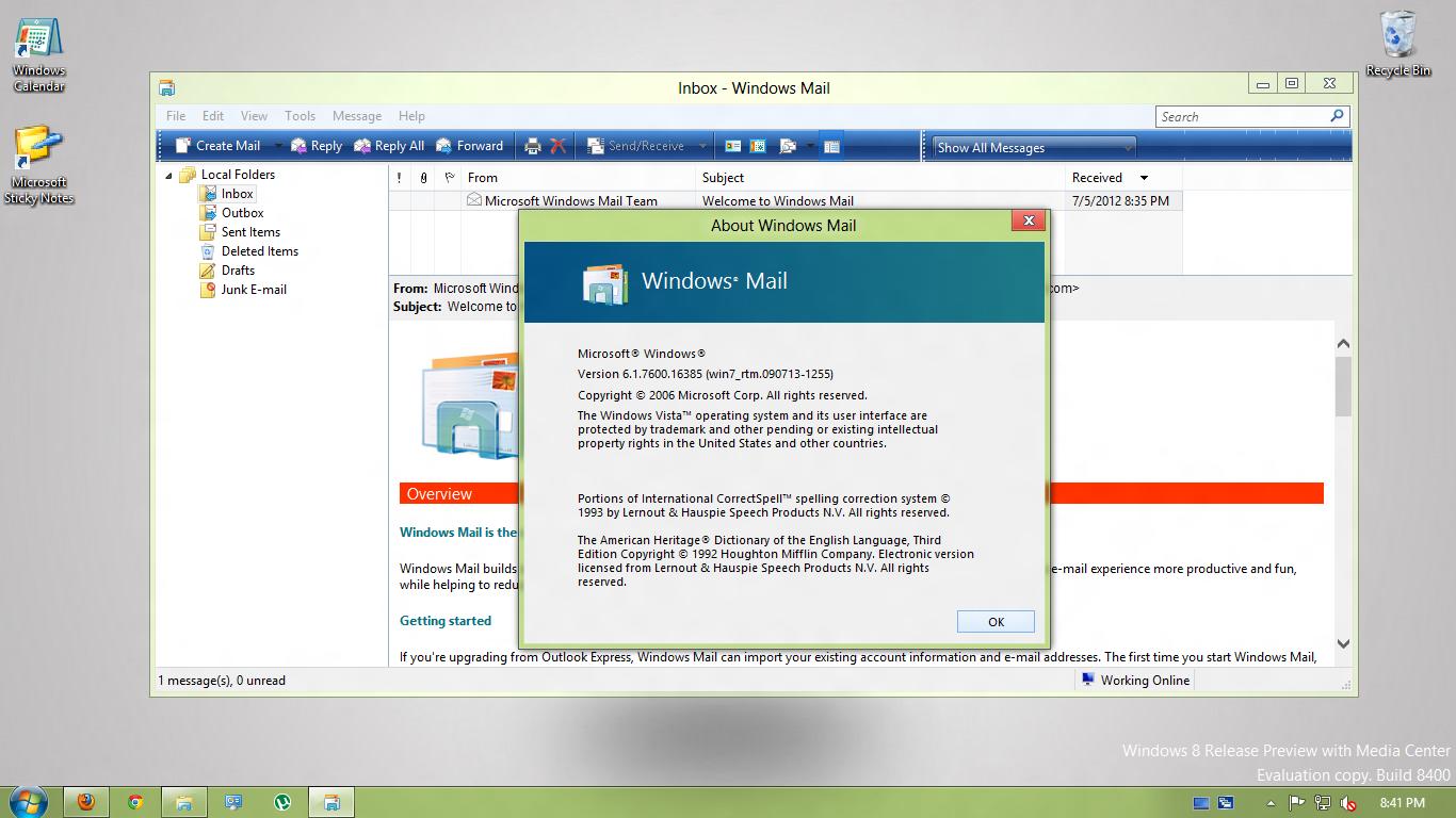 ORIGINAL Windows Mail in Windows 8 x64