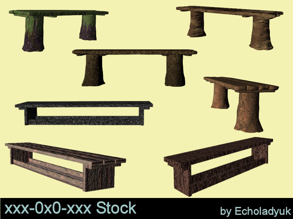 Rustic Benches pack of 7