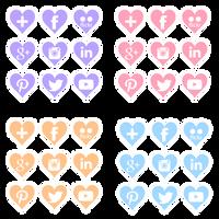 FREE Social-media Icons: Purple/Pink/Orange/Blue by anineko