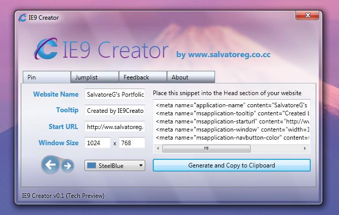 IE9 Creator v0.1 Tech Preview by SalvoG92