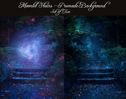 Moonlit Stairs - Two Premade Backgrounds by la-voisin