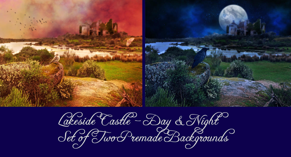 Lakeside Castle - Set of  Two Premade Backgrounds by la-voisin