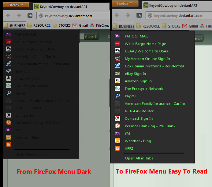 Color Menu Text In FireFox Using Text Editor by KeybrdCowboy