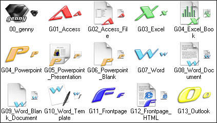 Genesis MSOffice 2 XP icons by genesis01