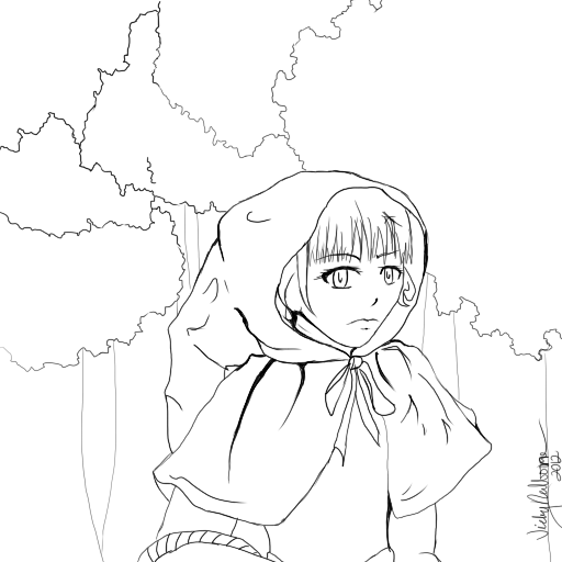 red riding hood coloring page by warriorredwaller