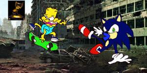 Sonic eats Barts shorts by yeewombocombo3000
