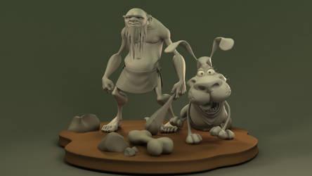 Caveman and Dog Models by Radik-Image