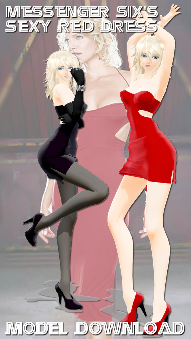 Mmd Messenger Sixs Sexy Red Dress Model Dl By Riveda1972