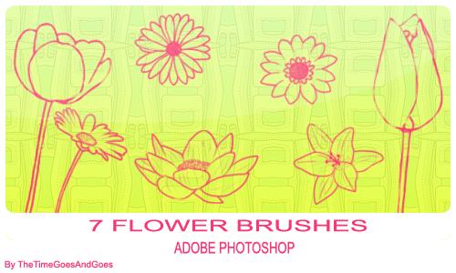 Flower Brushes by TheTimeGoesAndGoes