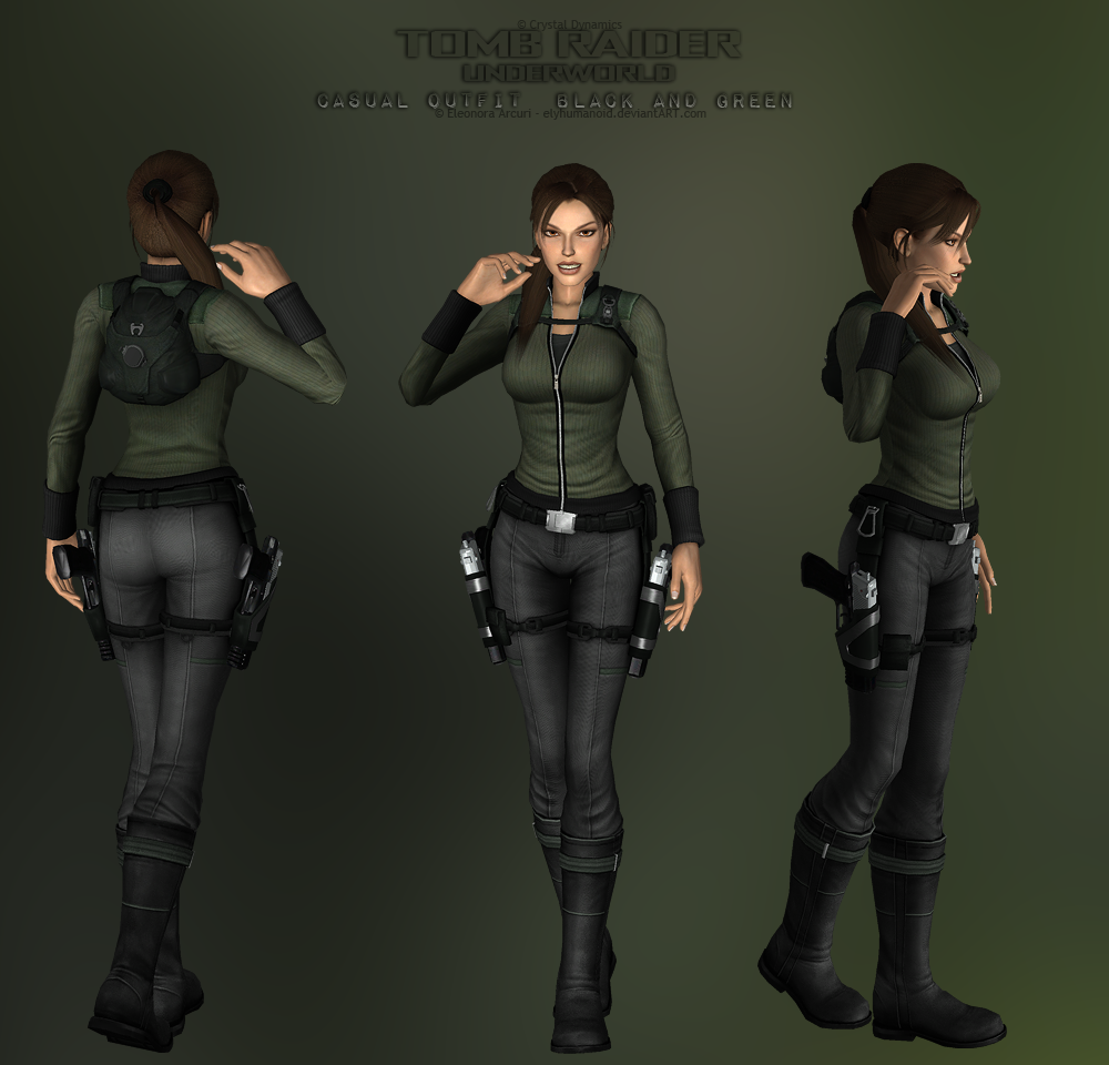 3d Tomb Raider Wallpaper: Casual Black And Green DOWNLOAD By Hellenys